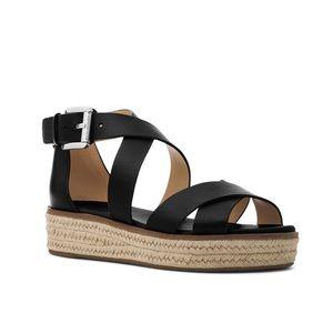 Michael Kors Espadrilles Black Leather Sandals